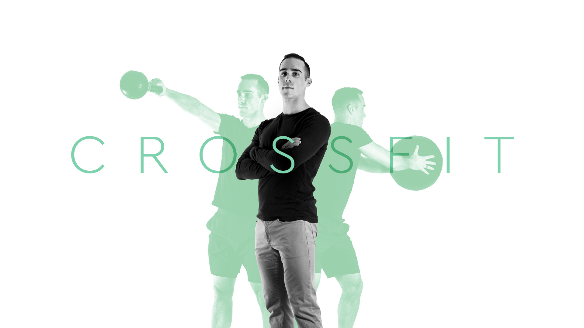 A man poses in front of silhouette images of himself doing kettlebell and conditioning CrossFit exercises